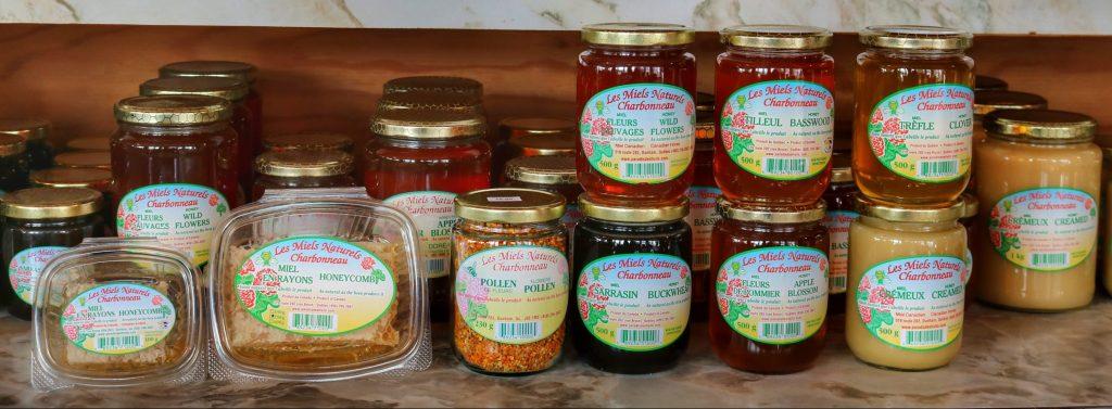 Les Miels Naturels Charbonneau, Au Paradis des Fruits Dunham, miel, honey, BEESWAX, HONEYCOMB, cire d'abeille, miel en rayon